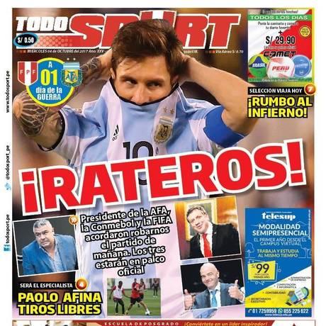 Capa do 'Todo Sport' de quarta-feira Foto: Reprodução