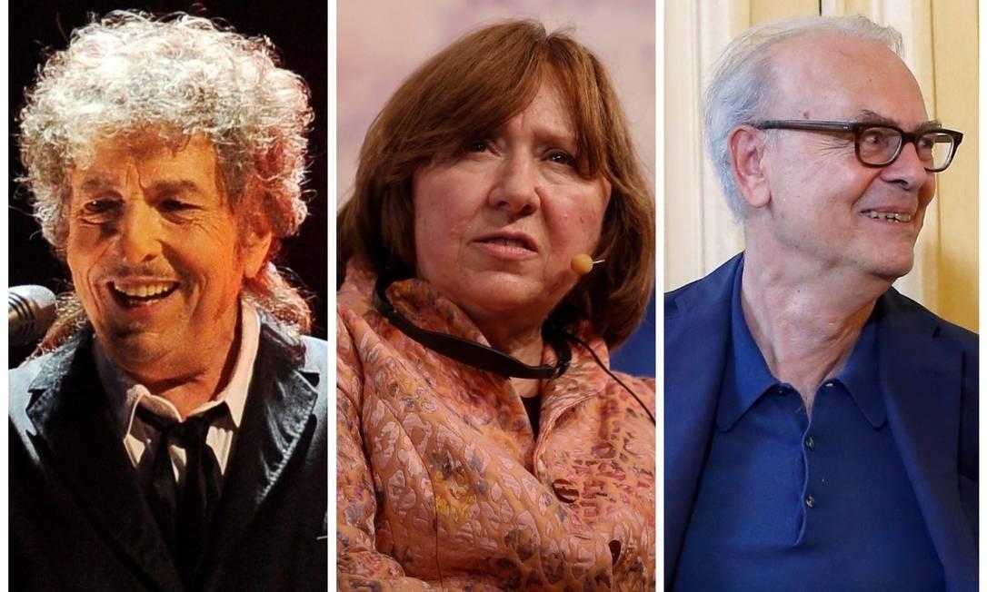 Bob Dylan, Svetlana Aleksiévitch e Patrick Modiano: prêmio Nobel de 2016, 2015 e 2014, respectivamente Foto: Fotos de divulgação