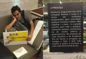 Ator caracterizado como um morador de rua segura o cartão do bolsa família para representar um dos sete pecados capitais: a preguiça Foto: João Paulo Rosman / Reprodução