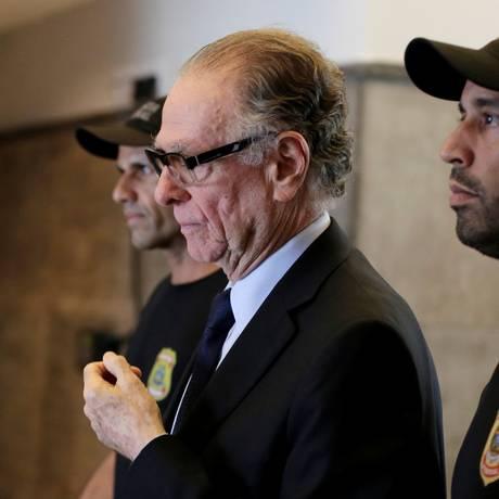 Carlos Arthur Nuzman quando foi preso pela Polícia Federal Foto: BRUNO KELLY / REUTERS