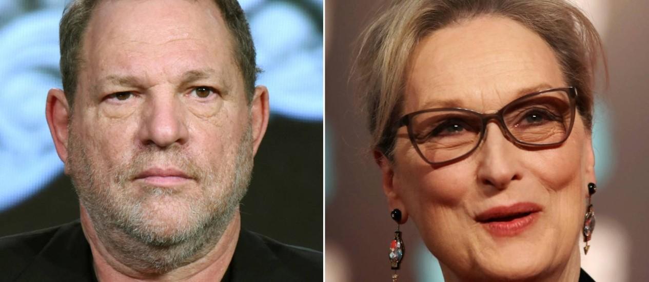 O produtor Harvey Weinstein e a atriz Meryl Streep Foto: Reprodução