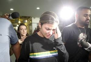 Danúbia Rangel, mulher do traficante Nem da Rocinha, na chegada à Cidade da Polícia após prisão em outubro de 2017 Foto: Domingos Peixoto / Agência O Globo