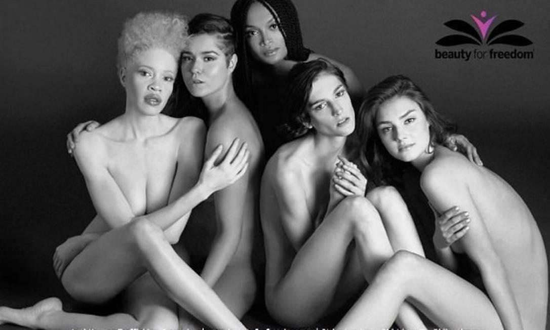 """""""Sempre quis fazer parte de uma campanha de beleza, especialmente com uma marca que celebra diversidade e singularidade"""", disse Diandra. """"Eles usaram modelos que no passado eram consideradas diferentes e estão quebrando os padrões sociais do que é a beleza. Fiquei emocionada em fazer essa parceria com eles"""", completou ela. Na foto, Diandra posa para outra campanha: da ONG Beauty for Freedom, que atua contra o tráfico de mulheres Reprodução Instagram"""