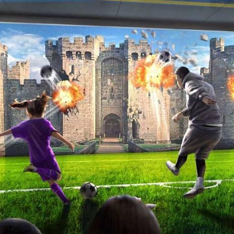 Desenho mostra um dos jogos interativos do Real Madrid Interactive Experience Center, no futuro parque temático Novotown, na China Foto: Divulgação