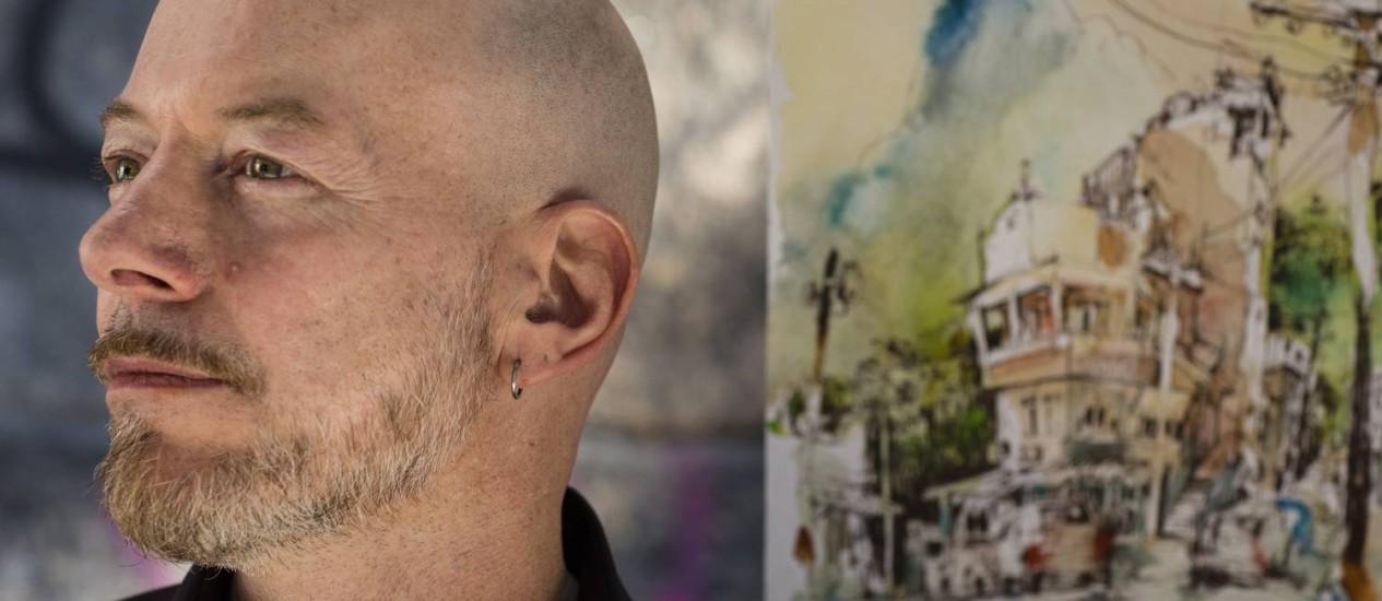 """""""A alma de um desenho está em tentar capturar o momento e o expressar da sua maneira"""", diz o artista Felix Scheinberger Foto: Fernando Lemos / Agência O Globo"""
