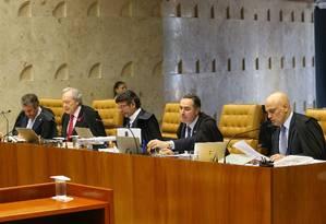 Plenário do STF: os ministros Marco Aurélio Mello, Ricardo Lewandowski, Luiz Fux, Luís Roberto Barroso e Alexandre de Moraes, da esquerda para a direita Foto: Ailton de Freitas / Agência O Globo / 11-10-17
