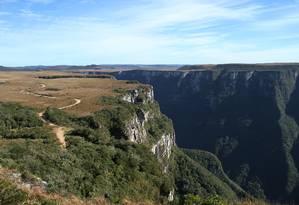 Vista do Cânion Fortaleza, a partir da Trilha do Mirante, no Parque Nacional da Serra Geral Foto: Eduardo Vessoni