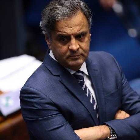 O senador Aécio Neves, durante sessão do Senado Foto: Jorge William/Agência O Globo/19-09-2017
