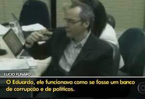 Vídeo do depoimento de Funaro à PGR Foto: Reprodução / TV Globo