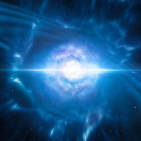 Ilustração da fusão de duas estrelas de nêutrons, evento que gerou ondas gravitacionais detectadas em agosto e foi prontamente acompanhado por observações no espectro eletromagnético Foto: ESO/L. Calçada/M. Kornmesser