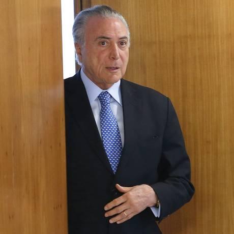 O presidente Michel Temer, em cerimônia no Palácio do Planalto Foto: Ailton de Freitas / Agência O Globo/10-10-2017