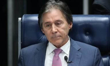 O presidente do Senado, Eunício Oliveira, durante sessão Foto: Ailton de Freitas / Ailton de Freitas/Agência O Globo/12-07-2017