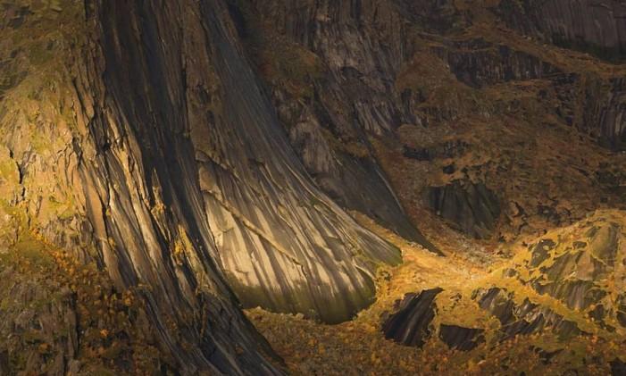 """Na categoria """"Plantas e fungos"""" a vencedora foi """"Tapestry of Life"""", por Dorin Bofan, da Romênia, que mostra a luz do Sol iluminando o tapete formado pela vegetação em Hamnoy, na Noruega. Foto: Dorin Bofan/NHM"""