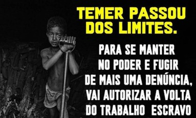 Postagem da 342 Artes critica novas regras do trabalho escravo Foto: Reprodução/Instagram