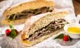 Na MP Tortas Boutique, o sanduíche de carne marinada é feito com ciabatta da própria casa (R$ 24) Foto: Divulgação/Filico