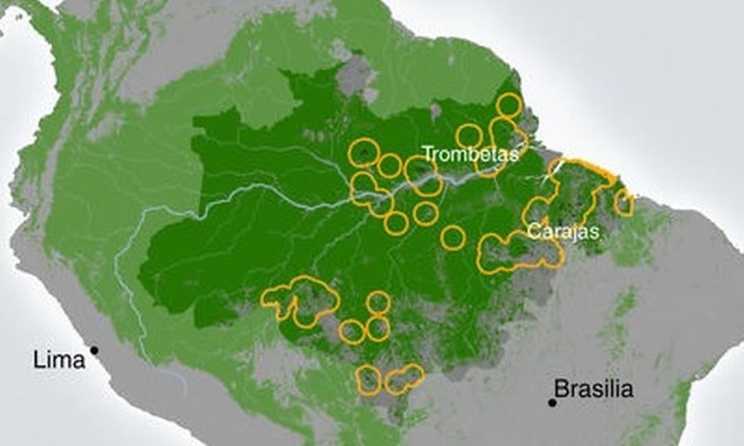 Localização dos projetos de mineração na Amazônia e as áreas em seu entorno analisadas no estudo Foto: / Reprodução/Nature Communications