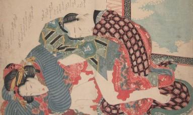 """""""Dia de Ano Novo"""", obra de 1835 do artista japonês Keisai Eisen Foto: Divulgação"""