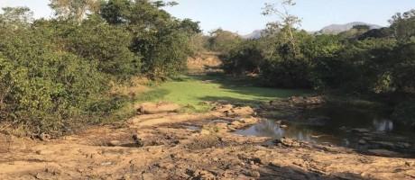 Sem chuva. O Rio Itabapoana, em Campos, praticamente seco: captação de água já caiu 30% no Estado do Rio Foto: Giampaolo Morgado Braga / Agência O Globo