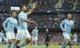 Agüero comemora gol que o fez se tornar o maior artilheiro do City, junto com Eric Brook Foto: Rui Vieira / AP