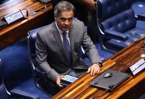 O senador Aécio Neves (PSDB-MG) Foto: Ailton de Freitas / Agência O Globo / 18-10-17