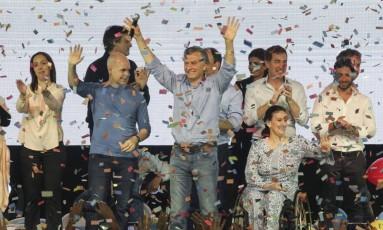 Presidente Mauricio Macri celebra vitória da aliança governista em eleições legislativas da Argentina Foto: CLAUDIO PERIN / AFP