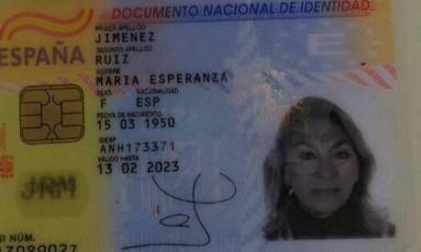 Reprodução do documento de identidade da espanhola morta na Rocinha Foto: Reprodução