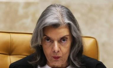 A presidente do Supremo Tribunal Federal (STF), ministra Cármen Lúcia, durante sessão do Supremo Foto: Givaldo Barbosa / Givaldo Barbosa/Agência O Globo/19-10-2017