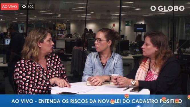 A coordenadora do Núcleo de Defesa do Consumidor (Nudecon) da Defensoria Pública do Rio, Patrícia Cardoso (esq), e a coordenadora Jurídica do Procon Carioca, Renata Ruback (dir), conversam com a editora de Defesa do Foto: Reprodução