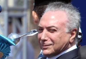 O presidente Michel Temer, durante Imposição da Medalha da Ordem do Mérito Aeronáutico, em Brasília Foto: Givaldo Barbosa/Agência O Globo