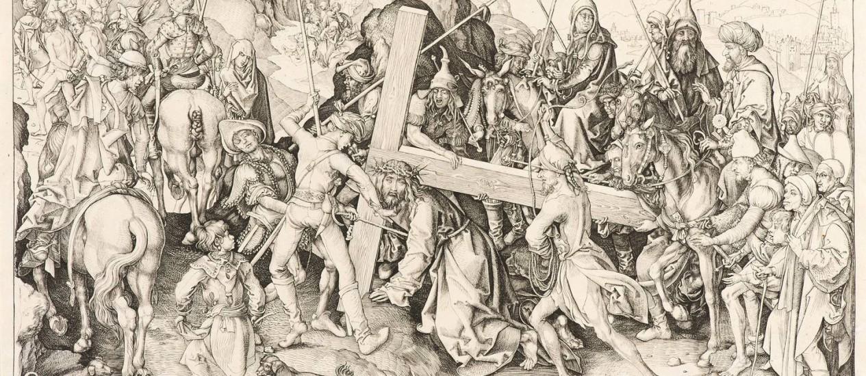 """""""Cristo carregando cruz"""", obra de Martin Schongauer, de 1475: imagem mais antiga da exposição Foto: Divulgação/Iara Venanzi/Itaú Cultural / Iara Venanzi"""