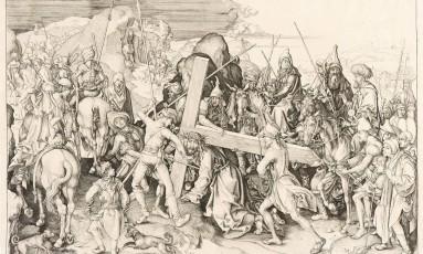 """""""Cristo carregando cruz"""", obra de Martin Schongauer, de 1475: imagem mais antiga da exposição Foto: Iara Venanzi/Itaú Cultural / Iara Venanzi"""