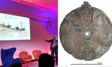 Atrolábio feito entre 1495 e 1500, segundo especialistas, foi encontrado na costa de Omã Foto: Twitter/Reprodução