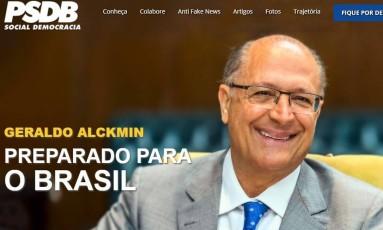 Imagem retirada de site lançado pelo PSDB para promover pré-campanha de Geraldo Alckmin à Presidência Foto: Reprodução