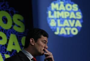 Juiz Sergio Moro participa de evento sobre Operação Lava-Jato e Mãos Limpas em São Paulo Foto: Edilson Dantas / Agência O Globo