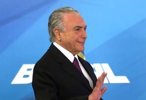 O presidente Michel Temer participa de cerimônia no Palácio do Planalto Foto: Givaldo Barbosa / Givaldo Barbosa/Agência O Globo/17-10-2017