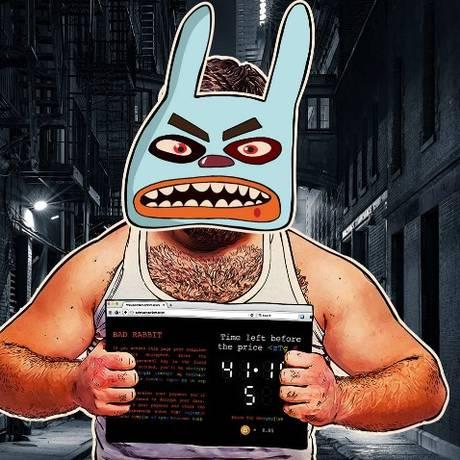 """Representação do vírus """"BadRabbit"""" feita pela empresa de segurança Kaspersky Lab Foto: Reprodução/Kaspersky Lab"""
