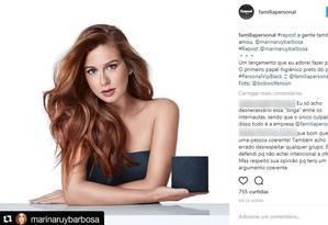 Marina Ruy Barbosa estrelou campanha do Personal VIP Black Foto: Reprodução/Instagram