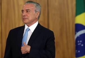 O presidente Michel Temer, durante cerimônia no Palácio do Planalto Foto: Givaldo Barbosa/Agência O Globo/23-10-2017
