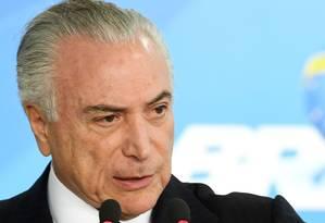 O presidente Michel Temer, durante pronunciamento no Palácio do Planalto Foto: Evaristo Sá/AFP/26-06-2017
