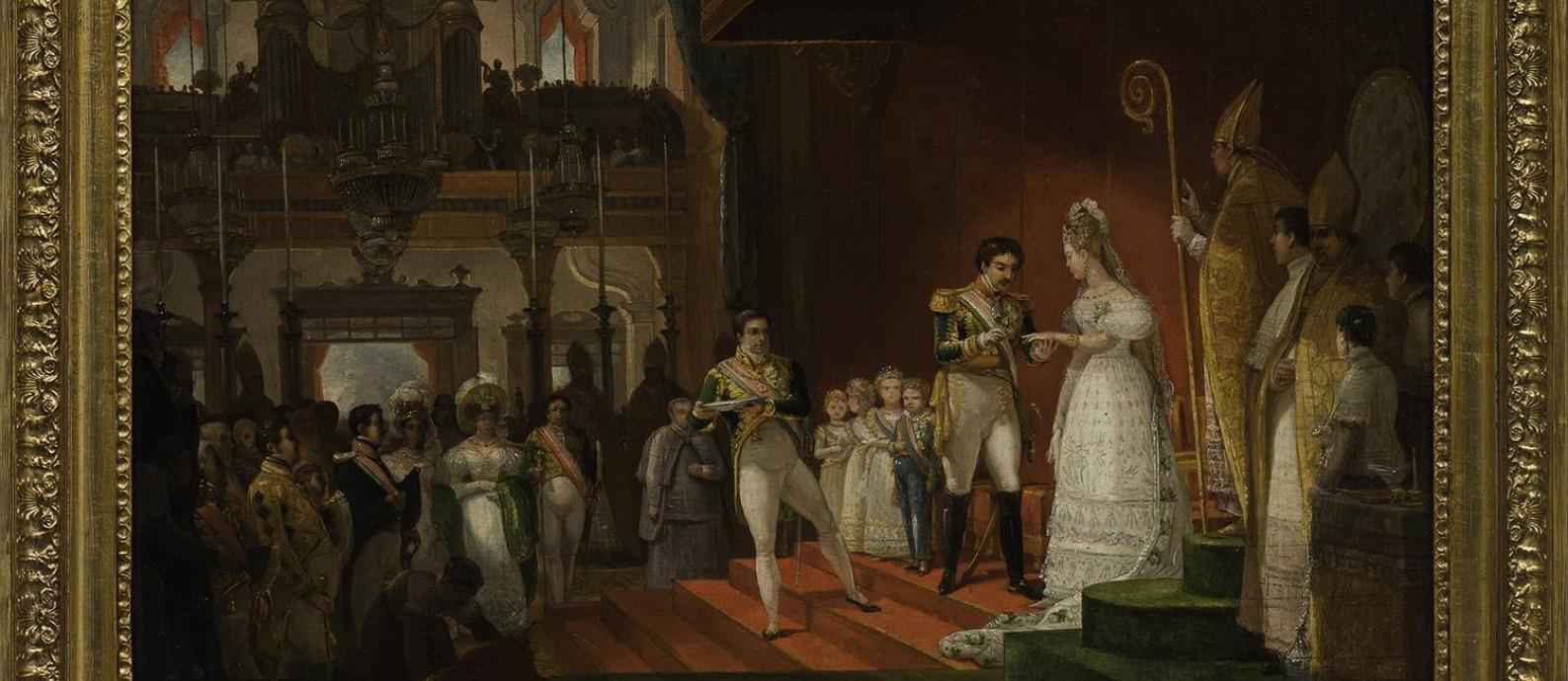 'Casamento de D. Pedro I e D. Amélia' (1829), de Jean Baptiste Debret; óleo sobre madeira Foto: Coleçao Brasiliana Itaú / Edouard Fraipont