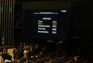 Câmara dos Deputados rejeita segunda denúncia contra Temer por 251 votos a 233 Foto: Ailton de Freitas / Agência O Globo