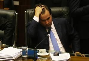 Presidente da Câmara, Rodrigo Maia, durante discussão da segunda denúncia contra Michel Temer Foto: Givaldo Barbosa / Agência O Globo