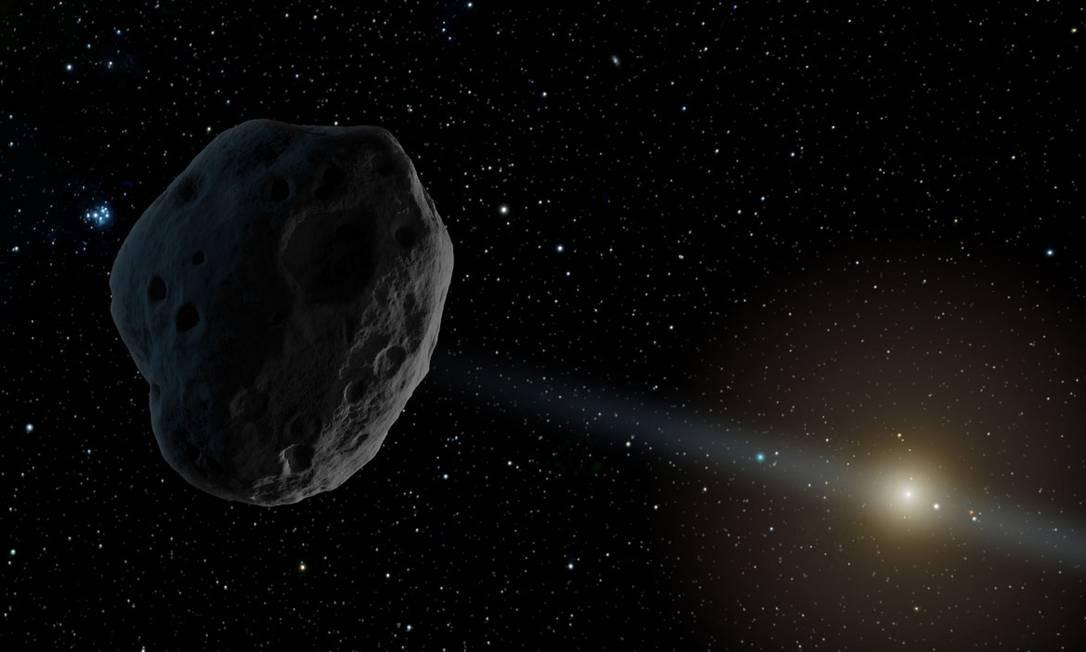 Ilustração de um asteroide nas cercanias de Júpiter no Sistema Solar: objeto descoberta tem velocidade e trajetória incomuns Foto: / NASA/JPL-Caltech