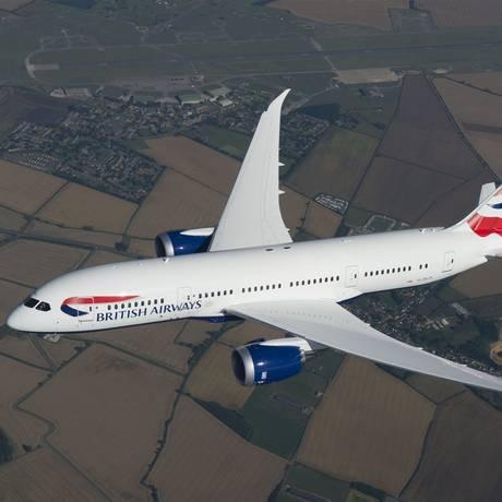 O Boeing 787-8 Dreamliner da British Airways, que começa a ser usado na rota Rio-Londres em 29 de outubro Foto: British Airways / Divulgação
