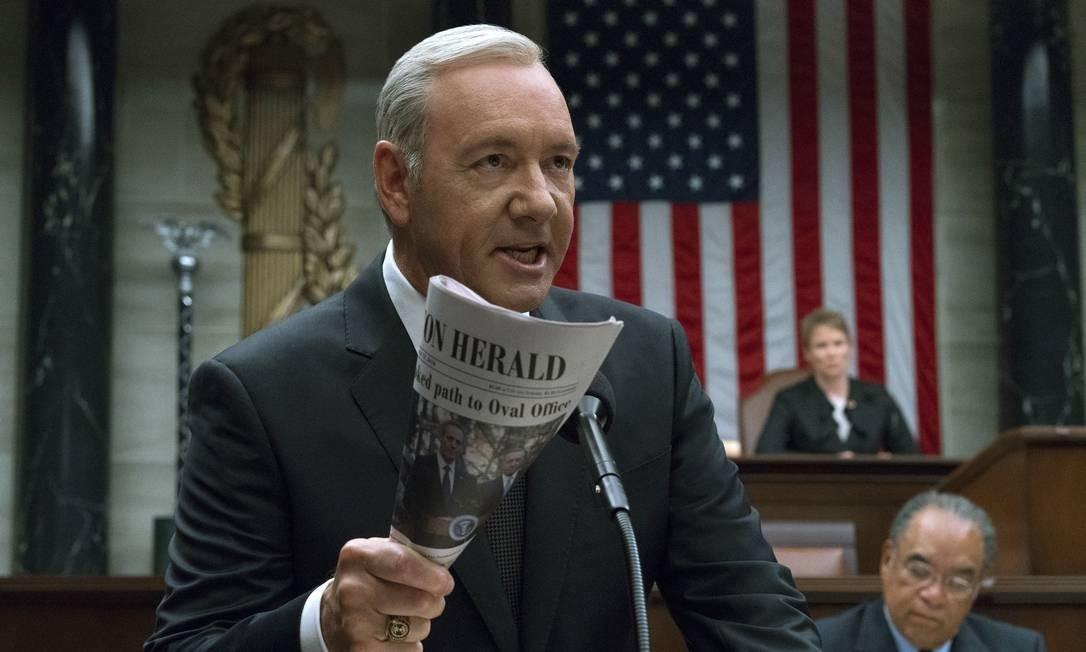 """Kevin Spacey em cena do """"House of Cards"""": nova temporada ajudou nos resultados da Netflix no segundo trimestre Foto: /"""