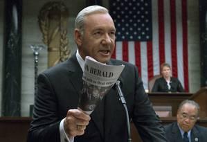 """Kevin Spacey em cena do """"House of Cards"""": nova temporada ajudou nos resultados da Netflix no segundo trimestre. Foto: David Giesbrecht/Netflix/AP"""