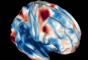Imagem de ressonância magnética funcional mostra as regiões ativadas no cérebro pelo pensamento Foto: Rob Felt, Georgia Tech