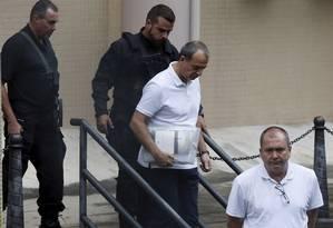 Sérgio Cabral em depoimento na Justiça Federal Foto: Domingos Peixoto / Agência O Globo