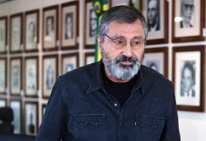 O ministro da Justiça, Torquato Jardim, durante entrevista coletiva Foto: Jorge William / Jorge William/Agência O Globo/24-06-2017