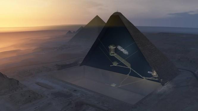 Ilustração mostra 'corte' da Grande Pirâmide de Gizé com suas câmaras e corredores conhecidos e, logo acima da Grande Galeria, inclinado, o 'espaço vazio' descoberto pelops cientistas Foto: Divulgação/Nature/Instituto HIP
